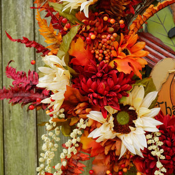 READY TO SHIP Large Thanksgiving Wreath, Grapevine Wreath, Happy Thanksgiving Wreath, Fall Door Decor, Thanksgiving Door Decor