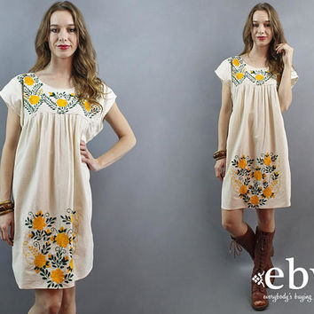 Cream Mexican Dress Embroidered Dress Hippie Dress Hippy Dress Boho 70s Dress Festival Dress Tent Dress 1970s Dress Bohemian Dress L XL