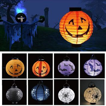 Pumpkin Spider Bat Printed Hanging Lantern Light Lamp Paper Halloween Lantern Haunted house Props for Home Bar Party Decoration
