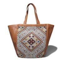 Patterned Faux Leather Weekender Tote