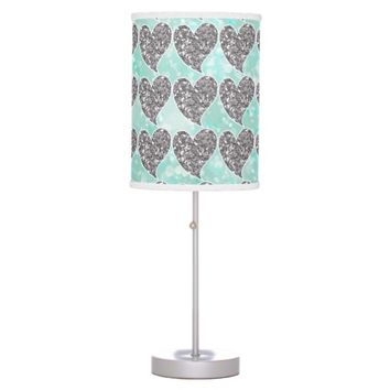 Aqua and Silver Glitter Hearts Table Lamp
