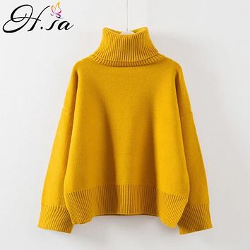 H.SA 2017 Pullover Winter Sweaters Women Loose Style Oversized Turtleneck Long Sleeve Soft Warm Thick Casual Jumper Feminino