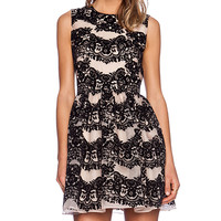 Red Valentino Flounces Flocked Print Fit and Flare Dress in Tan