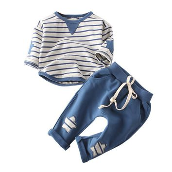 2Pcs/Set Newborn Baby  Boy Striped Long Sleeve Tops Pant Outfits Clothes