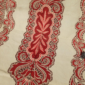 Natural Beige Thick Linen Tablecloth Nordic Style Artist Signed Red Hand Printed High Quality Handmade Vintage 70's Unused