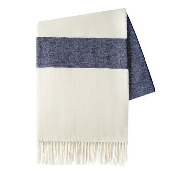 Sydney Herringbone Stripe Throw | Navy