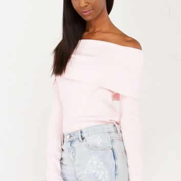 Off The Shoulder Ribbed Top in Pink
