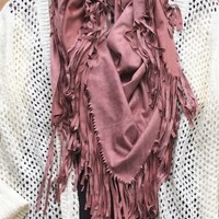 Our Fringe Suede Infinity Scarf - Mauve is a suede like infinity scarf with layered fringe detail.
