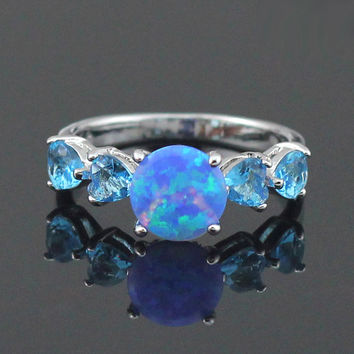 Blue Opal & Topaz Ring