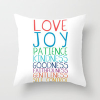 Fruits of the Spirit: Rainbow Throw Pillow by PrintableWisdom | Society6
