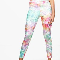Khia Crushed Velvet Tie Dye Leggings | Boohoo
