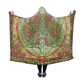 Hooded Blanket Peace Symbol Tree Of Life 60x48 Inch