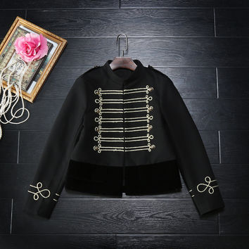 2017 new arrival spring autumn fashion women military jacket double breasted button gold patchwork velvet coat outerwear black
