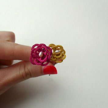 fuchsia and mustard hair pins, summer and spring accessories, handmade tatting lace, set of two