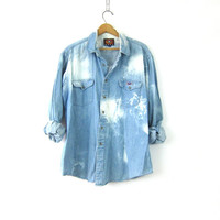 Vintage distressed Southwestern Jean Shirt Washed Out Bleach Splatter Shirt oversized bleached cotton button down shirt Mens pocket shirt XL