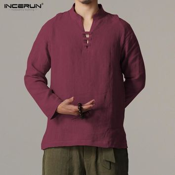 Incerun Long Sleeve Slim Fit Retro Chinese/Kung Fu Style Linen Men's Casual Shirt (2018)
