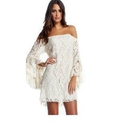 Lace Off-the-shoulder Mini Dress with Uffled Sleeves Plus Size