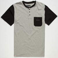 Captain Fin Blocked Mens Pocket Tee Heather Grey  In Sizes