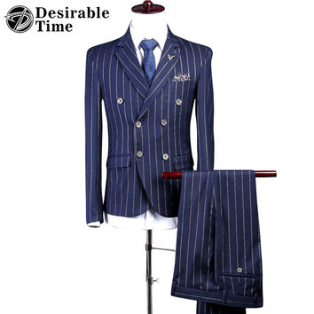 Men Double Breasted Tailored Suit Slim Fit Custom Made Pinstripe Navy Blue Wedding Suits For Men
