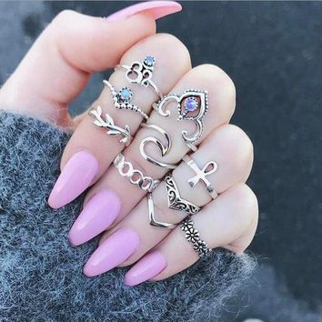 Tocona 10pcs/Set Bohemia Crown Flower Crystal Wave Rings Set Knuckle Finger Midi Rings for Women Party Jewelry 4227