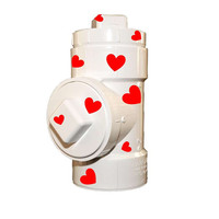 Valentine custom designed K-9 treat jar! Red Hot Hearts complete holiday themed container for treats or candy! Fun gift!