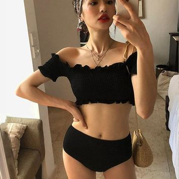 Swim Shorts For Women Wear Swimsuit 2018 Two Piece Bathing Suit Beachwear Clothes Biquine And Plus Size Swimwear Split New Sexy