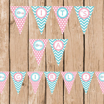 Its a Girl Baby Shower Banner Elephant Pennant Banner INSTANT DOWNLOAD Pink Grey Chevron Polk Dots Printable DIY Digital Decorations