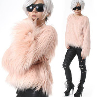 RTBU Punk Rock Runway Vegan Shaggy Faux Fur Furry Raglan Top Pullover Sweatshirt