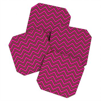 Caroline Okun Chocolate Chevron Coaster Set