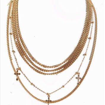 SMALL CROSS PENDANT CHAIN LAYER NECKLACE