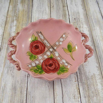 Vintage Italian Pottery Bowl with Floral Design, Mid Century, Handmade