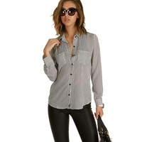 Black Playing Games Striped Blouse
