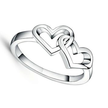 Top Quality Simple Style Heart To Heart Ring Platinum Tone