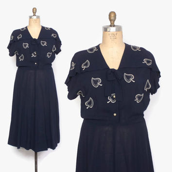 Vintage 50s NOVELTY DRESS / 1950s Embroidered Leaf Semi Sheer Navy Rayon Plus Size Dress L - XL