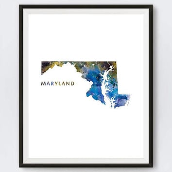 Maryland Print, Watercolor Map, Maryland Poster, Home Office Room Decor, Annapolis Print City Painting Gift Wall Art Digital Download