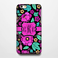Turquoise Pink Floral Monogram iPhone 6 Plus 6 5S 5 5C 4 Protective Case #950