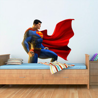 Superman Wall Decal - Printed and Die-Cut Vinyl Apply in any Flat Surface- Superman Decor