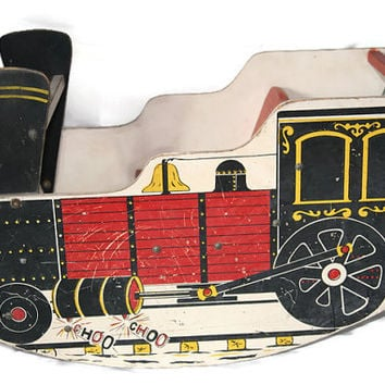 Antique Child's Choo Choo Rocker-1960's-Train-Toy-Toddler Train Rocker-Wooden Toy-Riding Toy-Vintage Toy