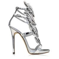 Giuseppe Zanotti Designer Shoes Silver Metallic Leather Sandal
