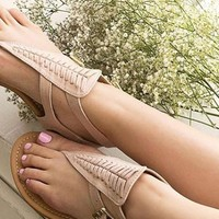 Women Woven Thong Flat Archer Sandals
