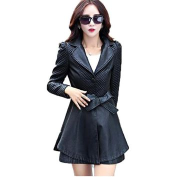 Genuine leather coat  Long Sleeve trench coat Plus size
