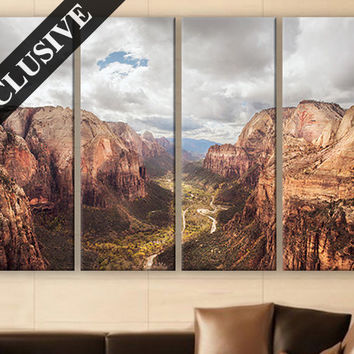 Extra Large Wall Art Nature Fine Art Canvas Wall Decor Modern Wall Hanging Fine Art Print Zion National Park Wall Art Poster for Room Decor