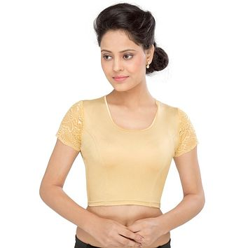 Designer Indian Gold Shimmer Non-Padded Stretchable Half Sleeves Saree Blouse Crop Top (A-33)
