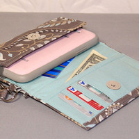 ULTIMATE ROOMY iPhone 4/5/6 Wallet Galaxy S3/S4/Note Wallet Cell Phone Wallet Wristlet Case / Taupe Gray / Baby Blue