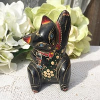Sweet Hand painted Cat Figurine holding fish, Folk art, Thailand, Wood, black, ornate, lacquered, floral,