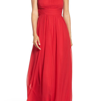 Aidan Mattox High Neck Chiffon Gown - Garnet Red