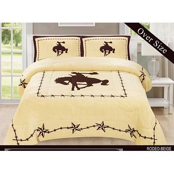 Western Beige Barbed Wire Riding Cowboy Horse Star Blanket Borrego Fleece - 3 Piece Set