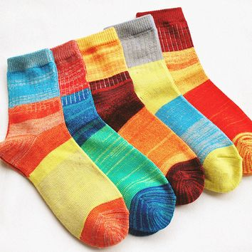 High Quality 1 PC Multiple Colors Womens Cashmere Wool Thick Warm Patchwork Socks Winter Fashion Socks