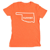 Womens Neon Series Runners Tee Oklahoma State Runner (Outlined) | Running Neon Tees | Running Gifts