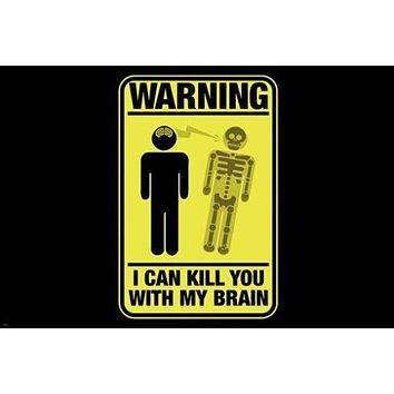 """HILARIOUS WARNING SIGN """"kill with brain"""" poster 24X36 ironic funny UNIQUE!"""